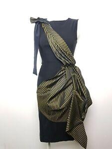 JOLABY Designer Party Cocktail Dress Women's Size S MADE UK Black Gold Sash
