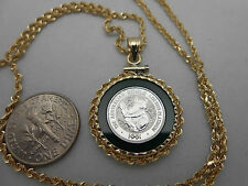 Gorgeous Heavy .999 Platinum & Jade Pendant & Solid 14k Gold Rope Chain & Bezel