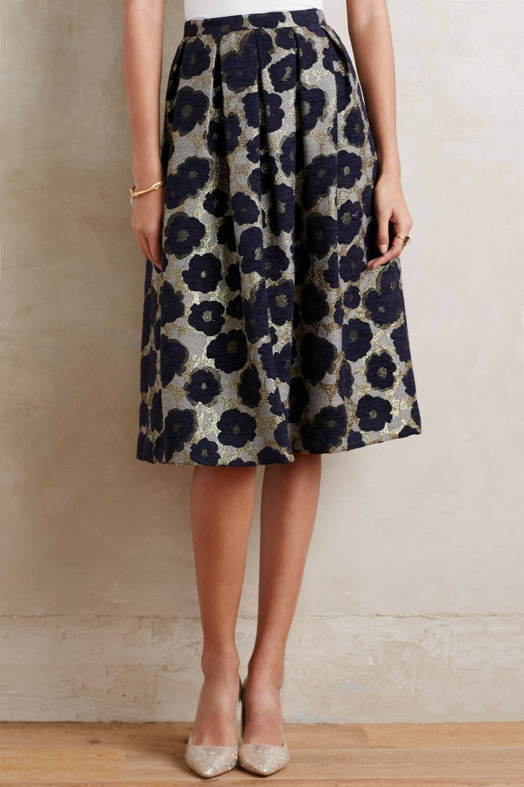 NWT ANTHROPOLOGIE DRESS GALLERY Floral Brocade Midi Skirt size S bluee Motif  298