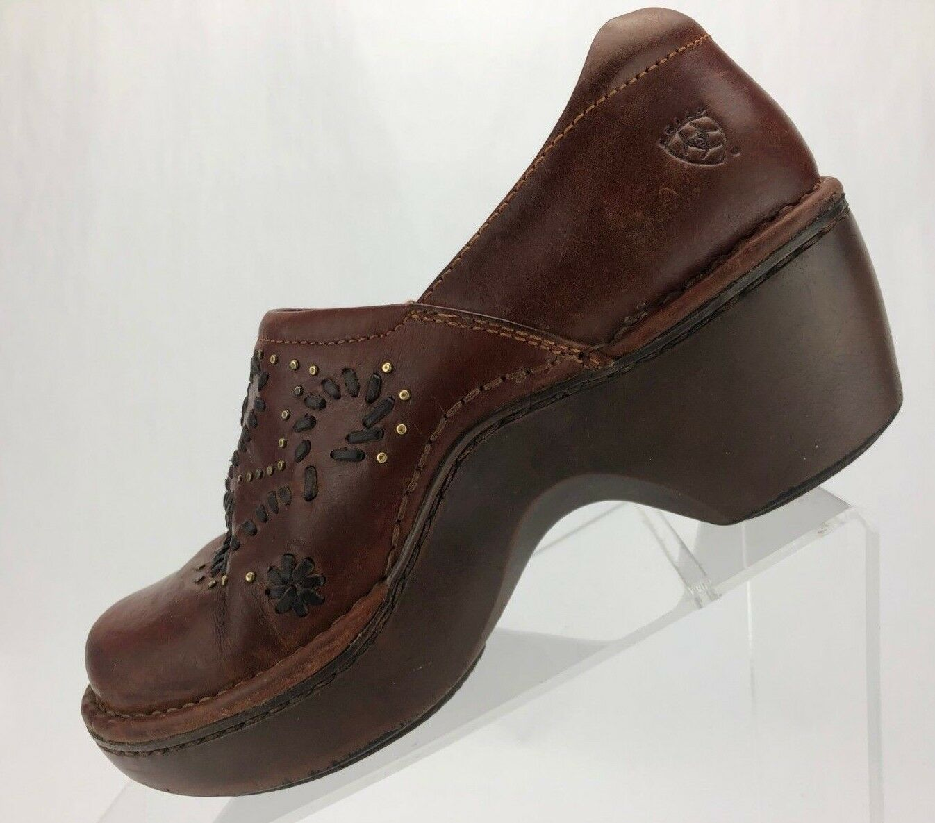 Ariat Nursing Clogs Brown Pelle Comfort Casual Mule Working Donna Size 6 B