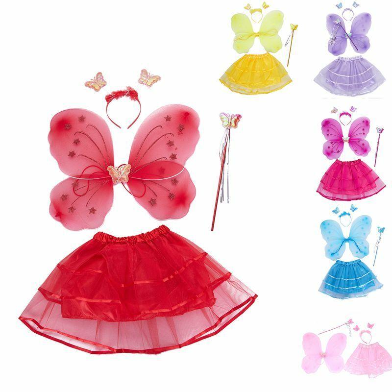 1x(maedchen 4 Stuecke Set Feen Prinzessin Funkeln Schmetterling Party Kostut5r8) Schnelle Farbe