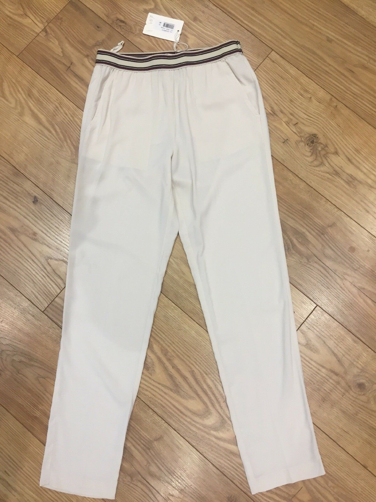 Jucca Lightweight Smart Casual Cream Stretch Trousers IT 40  UK 6   8 New