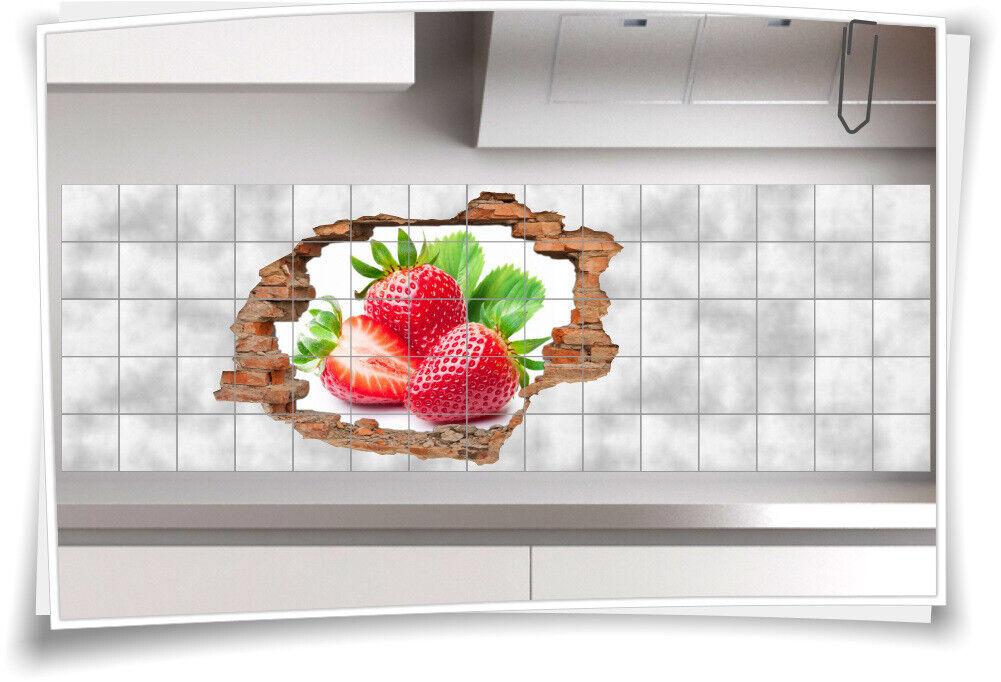 Fliesen-Bild Wand-Durchbruch 3D Fliesen-Aufkleber Erdbeere Rosoideae Pflanzen
