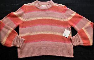 women-039-s-Lauren-Conrad-striped-peach-amp-pink-sweater-glitter-size-Large-RSRP-50
