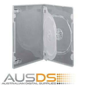 100 X CD / DVD Cases clear triple 14mm spine - Holds 3 Discs