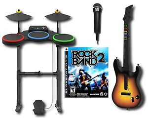 PS3-Rock-Band-2-Game-Wireless-Drums-Guitar-microphone-bundle-set-playstation-3