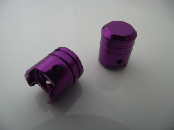 Aluminium Piston Dust Valve Caps In Purple / Kawasaki Yamaha Suzuki