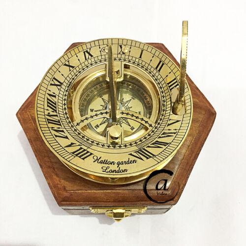 Vintage Chronograph Compass Sundial Brass Shiny Ornament Desk Dek