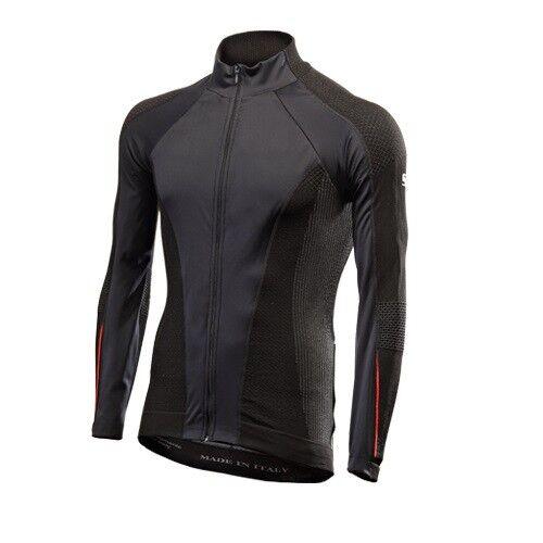 T-Shirt Jersey lange Ärmel Fahrrad Radsport SIXS schwarz rot WIND AW
