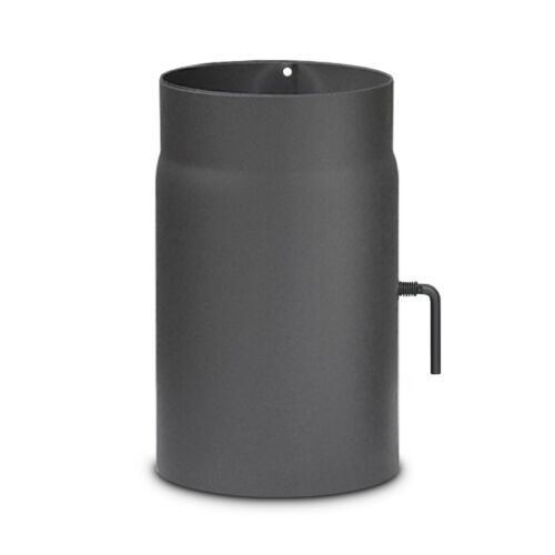 Rauchrohr Ofenrohr mit Drosselklappe DN 180 mm x 25 cm Gussgrau Senotherm