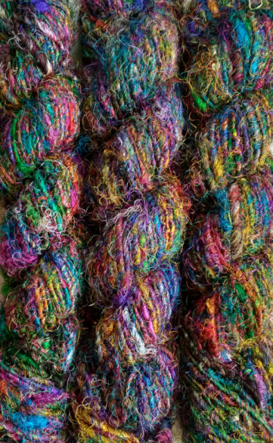 100 Grams Himalaya Recycled Soft Pure Sari Silk Yarn Knit Woven 1