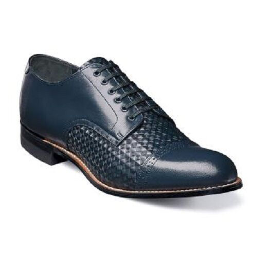 Stacy Adams Men's shoes Madison Cap Toe Diamond Print Leather Navy 00082-410