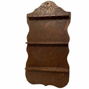 Vintage-Wood-18-Slot-Spoon-Display-Rack-Holder-19-x-10-Stained-Crude