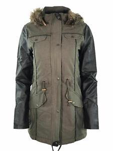 Womens Ladies Parka Jacket Oversized Long Sleeve Winter Fishtail Coat Size 8-16