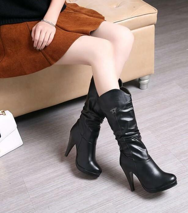 Womens Platform Faux Leather High Heel Pull On Mid Calf Boots Pointed Toe Zsell