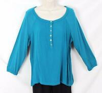 Jones York Blouse M Size Teal Blue Easy Wear Work Casual Womens Top 49$