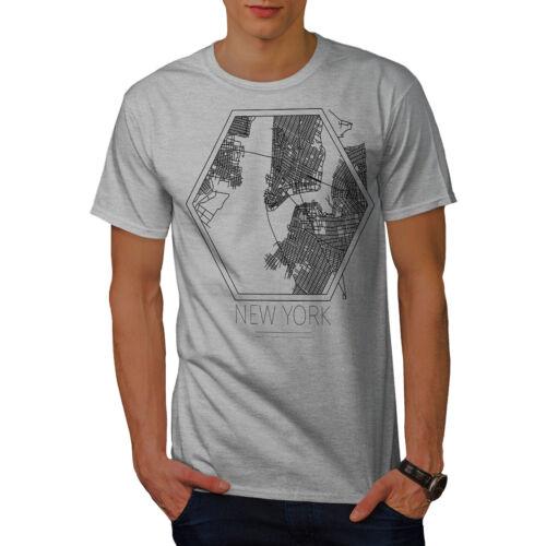 America Graphic Design Printed Tee Wellcoda New York City Map Mens T-shirt