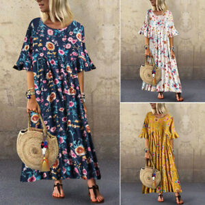 UK-Women-Floral-Print-Ruffled-Sleeve-Summer-Holiday-Beach-Long-Shirt-Dress-Tunic