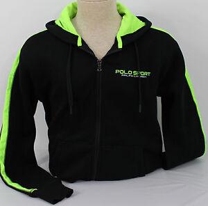 Polo-Ralph-Lauren-Full-Zip-Hoodie-Mens-XL-Black-Neon-Green