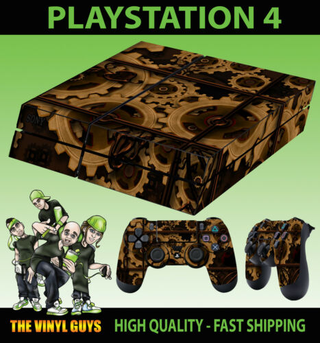 PS4 PLAYSTATION 4 CONSOLE STICKER STEAMPUNK GEARS COGS SKIN 2 X PAD SKINS