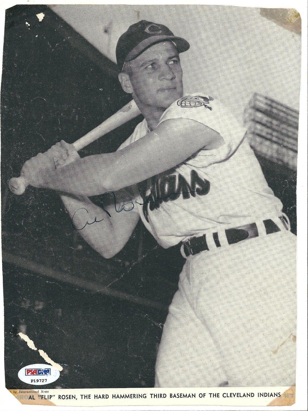 Al Rosen Signed Vintage Cleveland Indians Baseball Magazine Cut PSA P19727