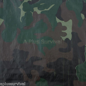 Camo Tarp 8' x 10' with Grommets Camping Emergency Survival Shelter Snow Rain