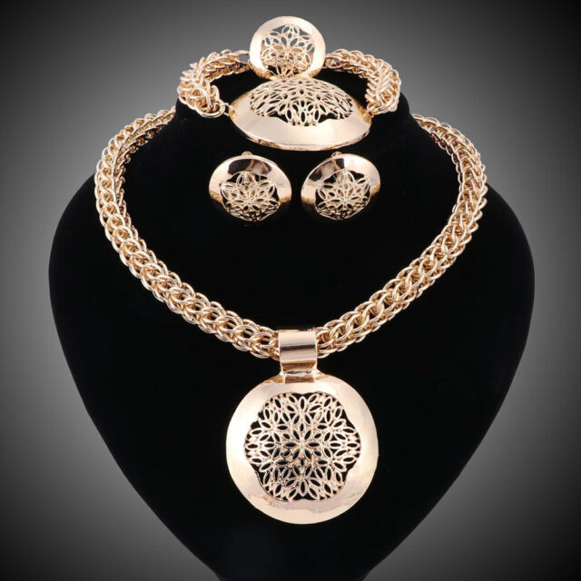 African Dubai Gold Plated Wedding Jewellery Sets Necklace Earrings