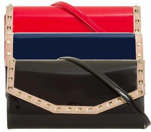 Ladies Faux Patent Studded Clutch Bag Envelope Evening Bag Handbag Purse