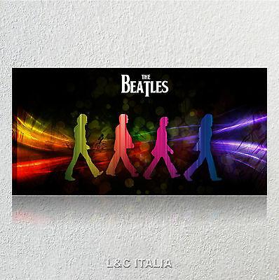 The Beatles 7 QUADRO 90x45 INTELAIATO MODERNO TELA ASTRATTO ARREDAMENTO ROCK