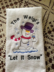 Details about Personalize Monogrammed Holiday Snowman Hand or Kitchen  Towels (2) Made To Order