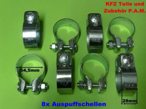 8x Auspuffschellen 54,5mm  Rohrschelle  Rohrverbinder Auspuffschelle verzinkt