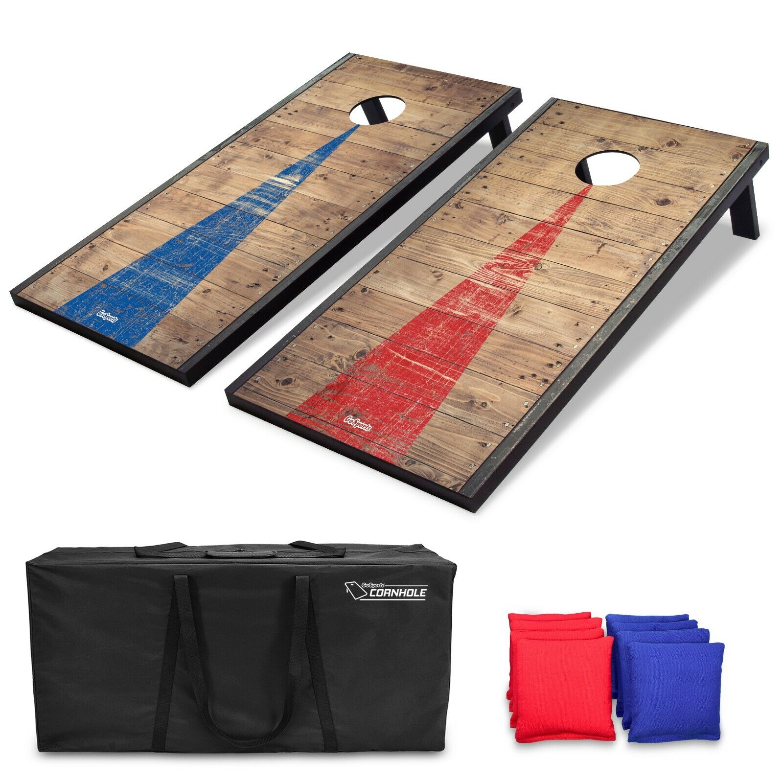 Regulation Size Cornhole Set with Rustic Wood Decals and  8 Bean Bags with Case  authentic