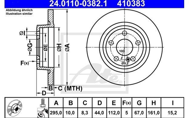 ATE Juego de 2 discos freno 295mm para MERCEDES  A B 24.0110-0382.1
