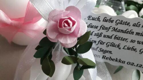 Taufe Rosa//Weiß Gastgeschenke Kommunion  Hochzeit Tischdeko mit Spruch