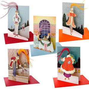 5 art deco la mode parisienne die cut christmas cards with ostrich feathers ebay. Black Bedroom Furniture Sets. Home Design Ideas