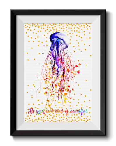 Uhomate Beautiful Colorful Pink Jellyfish Art Print Nursery Wall Decor C052