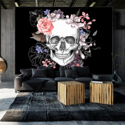 Tete de mort mort Fleurs Papier Peint Nappes Papier peint XXL Graffiti n-b-0029-a-a