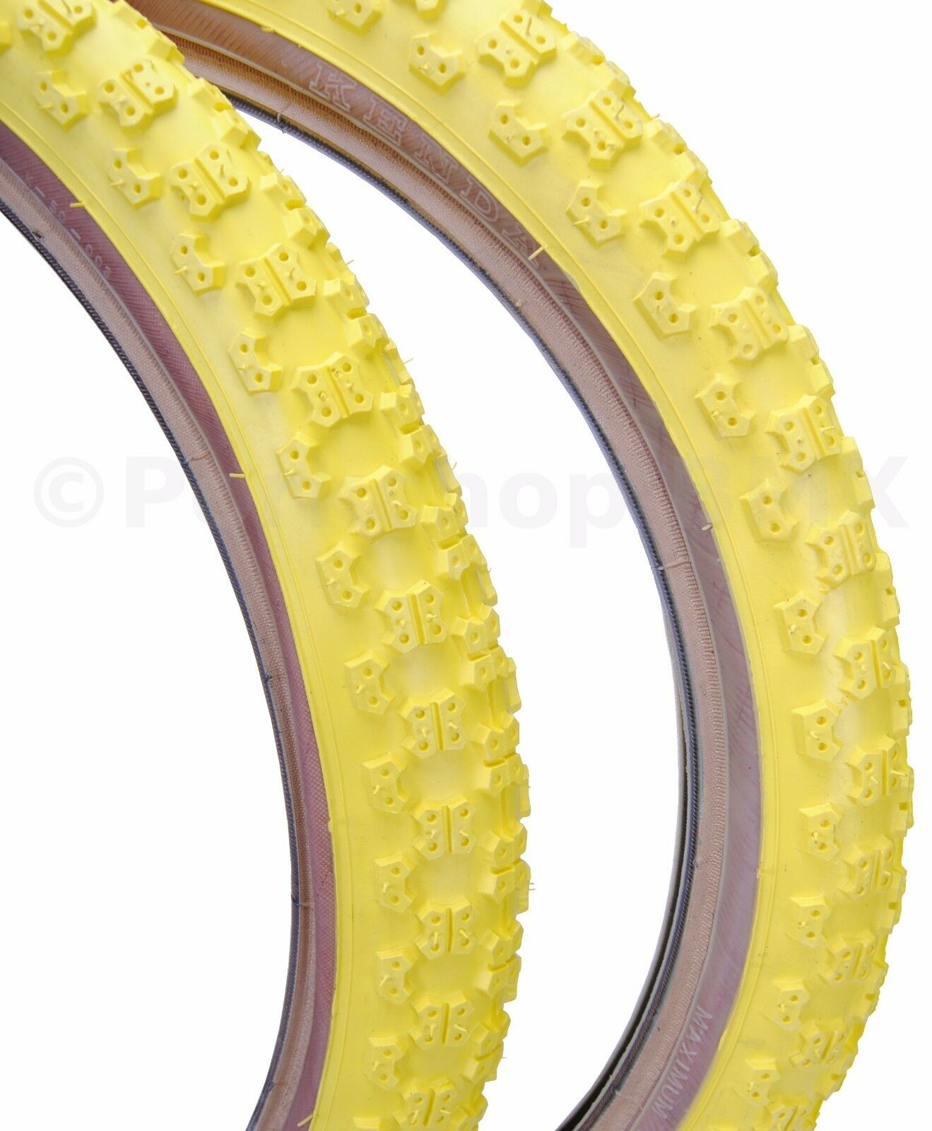 Kenda Comp 3 III old school BMX skinwall gumwall tires 20  X 1.75  YELLOW (PAIR)