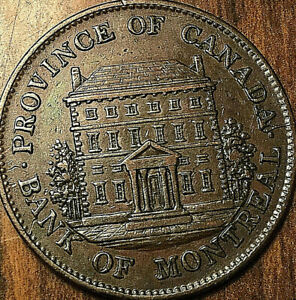 1844-LOWER-CANADA-MONTREAL-BANK-HALFPENNY-TOKEN-Really-really-great