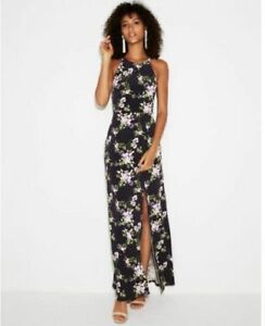 NEW Express Purple Polka Dot Floral high slit maxi dress sz Medium M 6-8