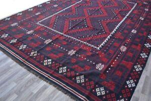 10x14 Red Afghan HandmadeVintage afghan tribal wool maldari runner kilim rug
