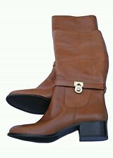 "Michael Kors MK ""Hamilton"" Tall Brown Leather Riding Boots Womens Sz 10M"