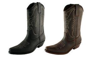 Bottes-Homme-SANTIAGS-Cowboy-Cuir-Noir-Marron-Pointure-39-40-41-42-43-44-45-46