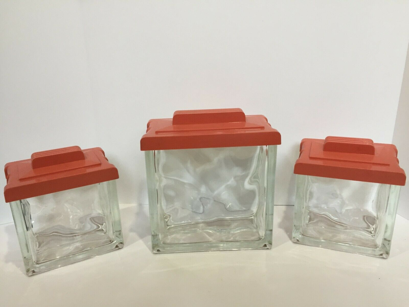 Vintage Heavy Glass Canisters   Apothecary