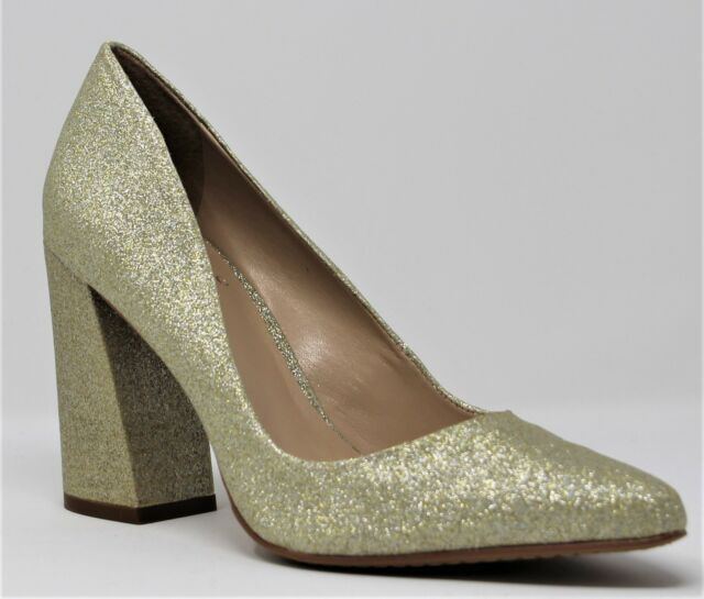 6a65e1546e4 Vince Camuto Womens Talise – Block-heel Pump Flash Gold Glitter 7