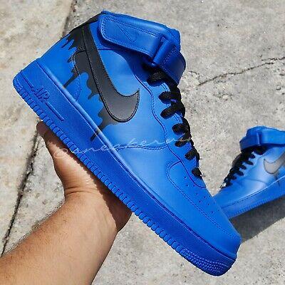 Air Force 1 MID Top Blue Black DRIP Custom NWT | eBay