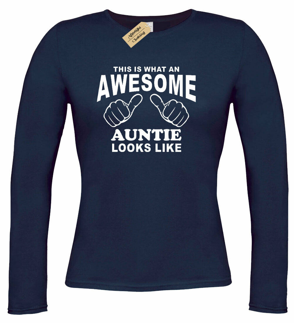Awesome Aunt Looks Like White Logo Womens  T Shirt S M L XL 2XL Navy