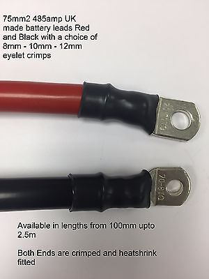 LIVE EARTH BATTERY POWER STRAP STARTER LEISURE LINK CABLE LEAD RED BLACK 485 AMP