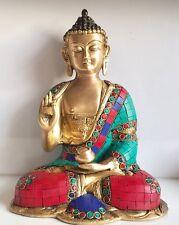 Buddha Large 10x5.5'' 3Kg Stone work Medicine Budha Brass Meditation handmade
