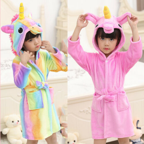 Toddler Kid Girl/'s Baby Flannel Hooded Bath Robe Cartoon Gown Towel Sleepwear F9